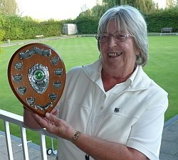 Brentwood Bowling Club ladies' captain Margaret Rayment with the Hartswood Trophy