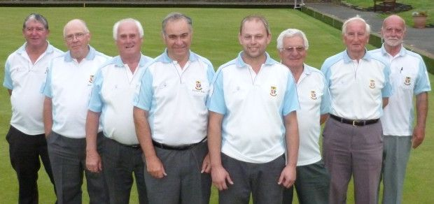 Brentwood BC Double Fours squad, from left - Ron Waller, Ron Lofts, Byron Davies, Richard Rose,Adam Smith, Geoff Byatt, Ron Jolly, John Howard.