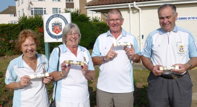 Brentwood Bowling Club Top rink players Kath Jolly, Margaret Rayment, Trevor Pedley and skip Richard Rose.