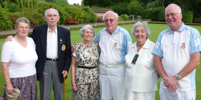 CONGRATULATIONS: From left, Janet Alderton, Frank Eade, Celia Eade, Cliff Jaycock, Marina Thorne and Les Powell.