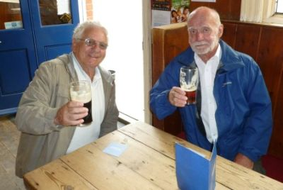 Geoff Byatt and John Howard check out the renowned beers at the 18th Century White Hart pub in the High Street.