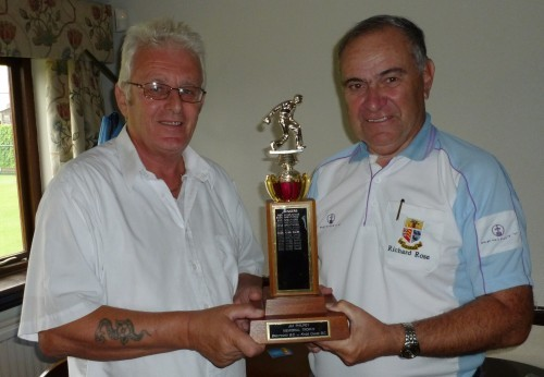 Kings Chase acting captain Rob Fleming, left, presents the Jim Philpot Trophy to Richard Rose.