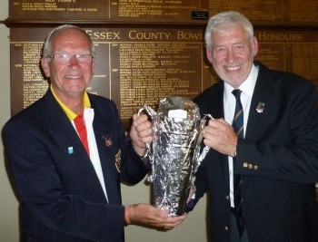 Brentwood Bowling Club vice-captain Fred, right, presents the new trophy to Bob Westley.