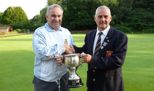 Howard Styles, right, presents the Goodchild Trophy to Richard Rose.