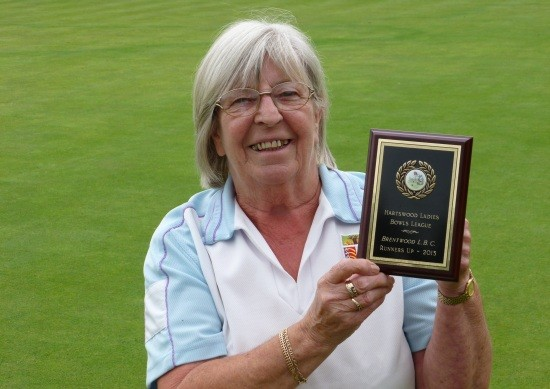 Brentwood Bowling Club ladies' captain Margaret Rayment with the Hartswood League 2013 runners-up plaque.