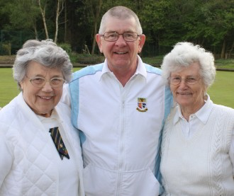 Brentwood Bowling Club mixed drive winners 26th April 2014 - Daphne Gilbert, Trevor Pedley and Pam Baker.