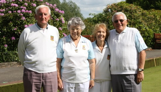 Ted Hasley Competition 2014.  From left, runners-up Ron Jolly, and Daphne Gilbert with winners Kath Jolly and Geoff Byatt.