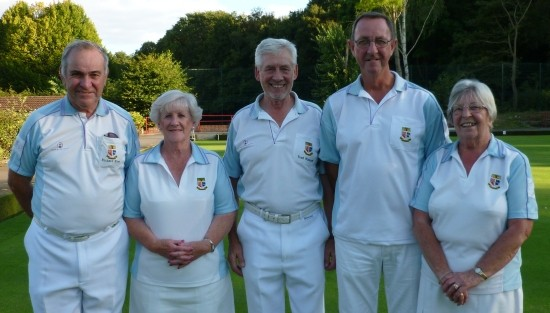 TOP RINK: Men's captain Richard Rose, left, with Brenda Watson, Fred Wasmuth, Stuart Lawson and ladies' captain Margaret Rayment.