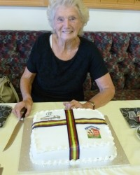 Barbara Morrish prepares to cut the Brentwood Bowling Club Ladies' Section 40th anniversary cake.