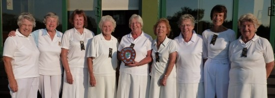 HARTSWOOD WIN: From left, Daphne Gilbert, Joan Stevenson, Kate Davies, Barbara Morrish, Margaret Rayment, Kath Jolly, Marje Shute, Janet Howson and Barbara Jolly.
