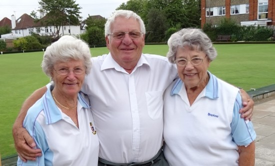 TOP RINK: From Left, Pam Baker, Geoff Byatt and Daphne Gilbert.