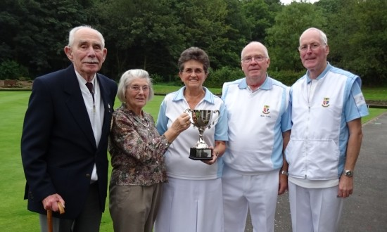 TROPHY TIME: From left: Frank and Celia Eade, Pam Robinson, Ron Lofts and Les Powell