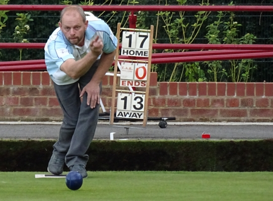 Adam Smith of Brentwood Bowling Club playing in the Roger Burton Trophy singles semi finals 2015
