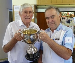 Mick Stradling, left, receives the Goodchild Trophy from Richard Rose.