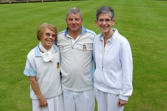 Winners of the Ted Hasler Trophy 2016 at Brentwood Bowling Club - Kath Jolly, Paul Harrison and Ann Powell