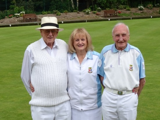 Runners-up in the Ted Hasler Trophy competition at Brentwood Bowling Club 2016 - Laurie Darnell, Kate Davies and Brian Martin
