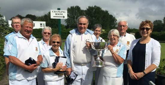 Sponsor Jane Bennett, right, congratulates winning players - (from left) Trevor Pedley, John Young, Maureen Murrell, Kath Jolly, Richard Rose, Ann Powell, Margaret Rayment and Ron Jolly.