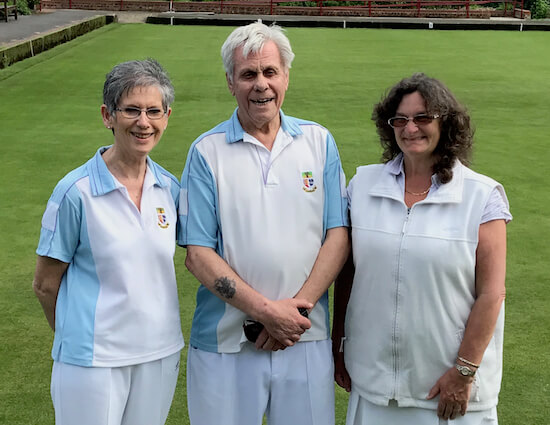 Skip Harry Egleton with lead Alison Hare, right, and Ann Powell., winners of the 2017 Ted Hasler Trophy competition at Brentwood Bowling Club.