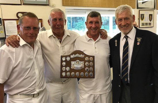 Brentwood Bowling Club men's captain Fred Wasmuth, right, with Invitation Triples runners-up Clockhouse B.