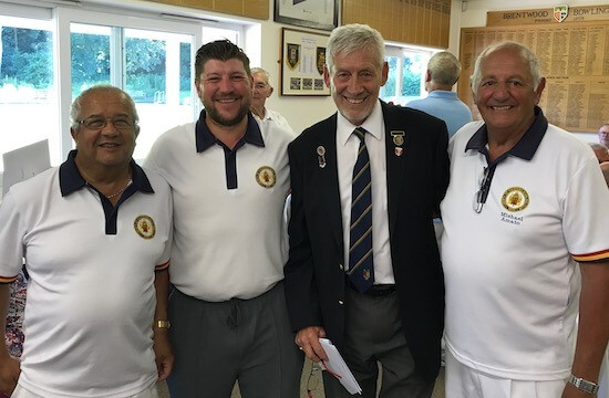 Brentwood Bowling Club men's captain Fred Wasmuth, second right, with third-placed Liberty.