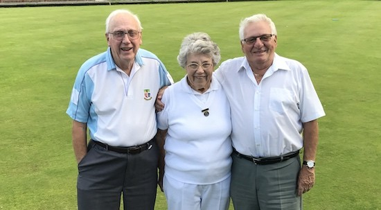 Skip Geoff Byatt, right, with Cliff Jaycock and Daphne Gilbert, winners of the 2017 Captains' Day competition at Brentwood Bowling Club