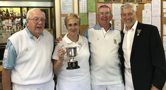 Brentwood Bowling Club men's captain Fred Wasmuth, right, congratulates Zena Hewlett and team colleagues Cliff Jaycock, left, and Trevor Pedley on winning the Ted Hasler Trophy 2018.