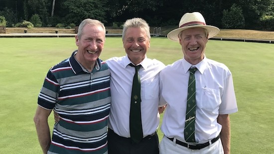 Harlow lawn bowlers, from left, Keith Lawrence, skip Fred Mitson, Micc Verrells, who were third-placed in the 2018 invitation triples competition at Brentwood Bowling Club.