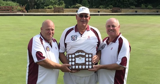Silverthorn Bowling Club players, from left, Mackie Farquhar, skip Ian Christey, Martin Heath, who were runners-up in the 2018 invitation triples competition at Brentwood Bowling Club.