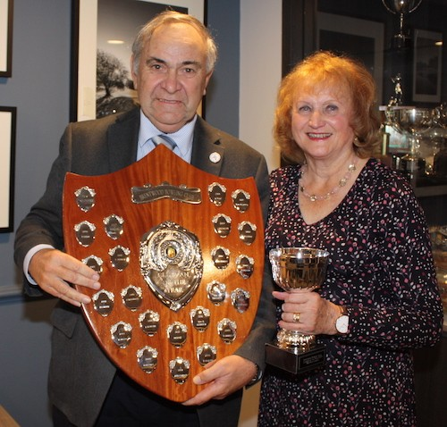 Brentwood Bowling Club chairman Richard Rose presents the 2018 Clubman of the Year Shield and individual trophy to Kate Davies